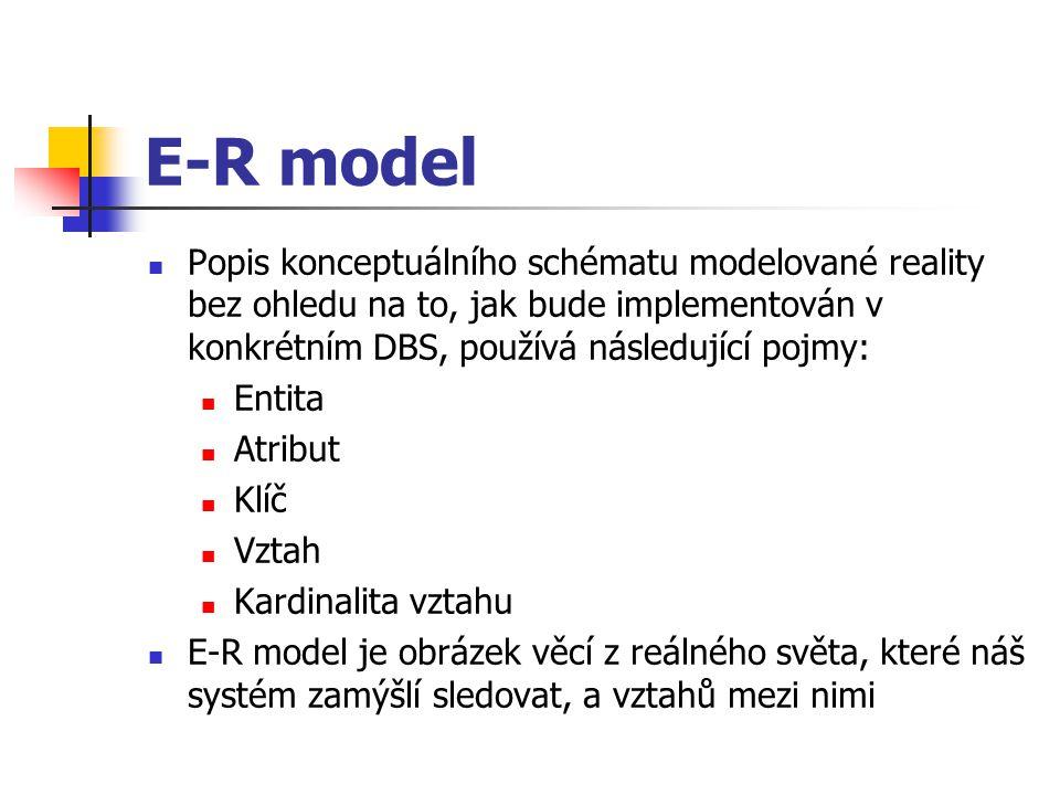 E-R model Popis konceptuálního schématu modelované reality bez ohledu na to, jak bude implementován v konkrétním DBS, používá následující pojmy: Entit