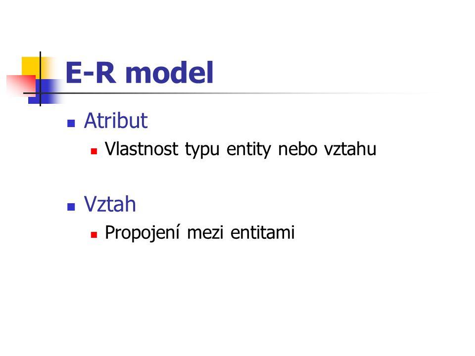 E-R model Atribut Vlastnost typu entity nebo vztahu Vztah Propojení mezi entitami