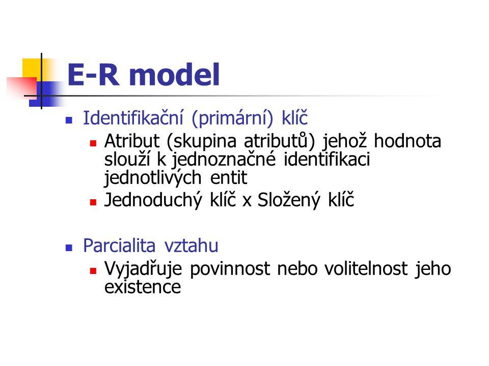 E-R model Identifikační (primární) klíč Atribut (skupina atributů) jehož hodnota slouží k jednoznačné identifikaci jednotlivých entit Jednoduchý klíč
