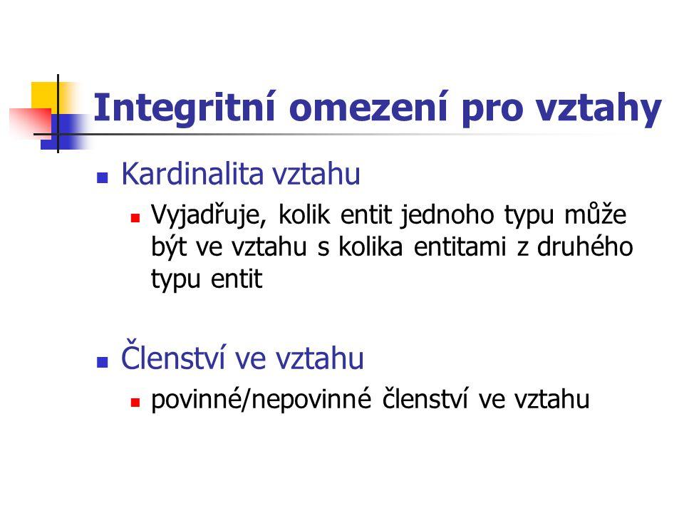 Integritní omezení pro vztahy Kardinalita vztahu Vyjadřuje, kolik entit jednoho typu může být ve vztahu s kolika entitami z druhého typu entit Členstv