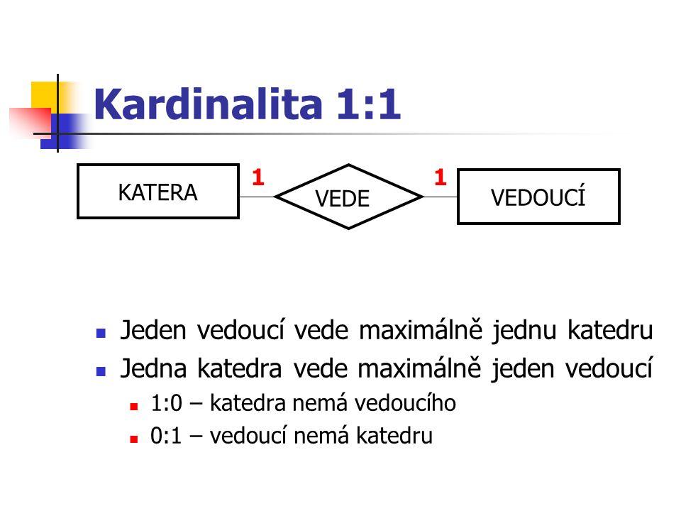 Kardinalita 1:1 Jeden vedoucí vede maximálně jednu katedru Jedna katedra vede maximálně jeden vedoucí 1:0 – katedra nemá vedoucího 0:1 – vedoucí nemá