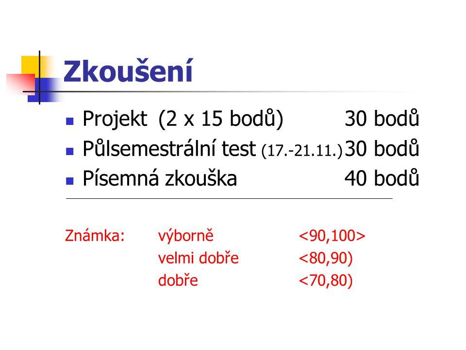 Zkoušení Projekt(2 x 15 bodů)30 bodů Půlsemestrální test (17.-21.11.) 30 bodů Písemná zkouška40 bodů Známka:výborně velmi dobře<80,90) dobře<70,80)
