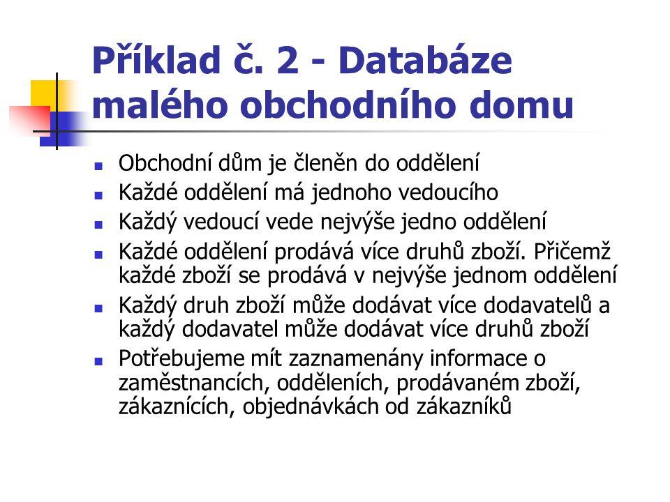 Příklad č. 2 - Databáze malého obchodního domu Obchodní dům je členěn do oddělení Každé oddělení má jednoho vedoucího Každý vedoucí vede nejvýše jedno