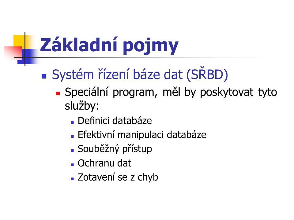 Základní pojmy Systém řízení báze dat (SŘBD) Speciální program, měl by poskytovat tyto služby: Definici databáze Efektivní manipulaci databáze Souběžn