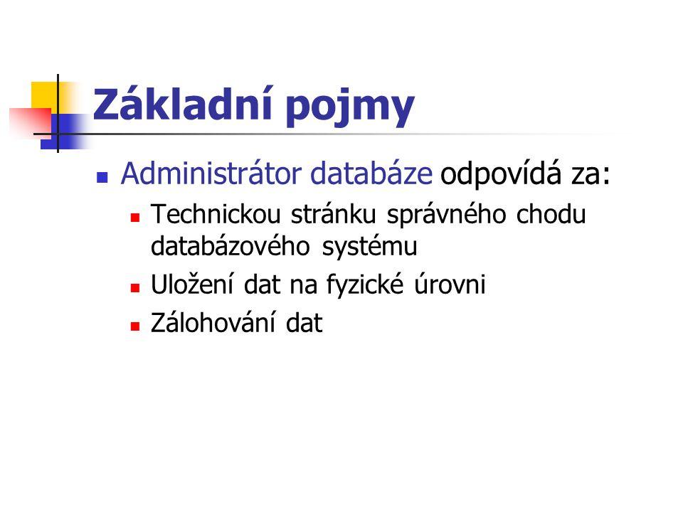 Základní pojmy Administrátor databáze odpovídá za: Technickou stránku správného chodu databázového systému Uložení dat na fyzické úrovni Zálohování da