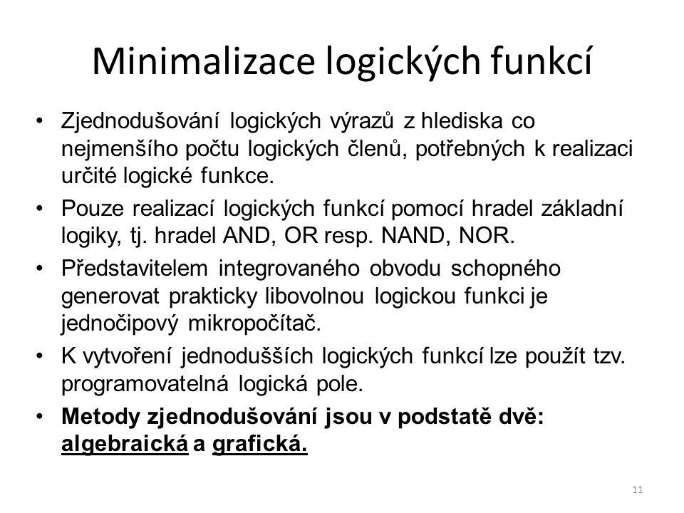 11 Minimalizace logických funkcí Zjednodušování logických výrazů z hlediska co nejmenšího počtu logických členů, potřebných k realizaci určité logické