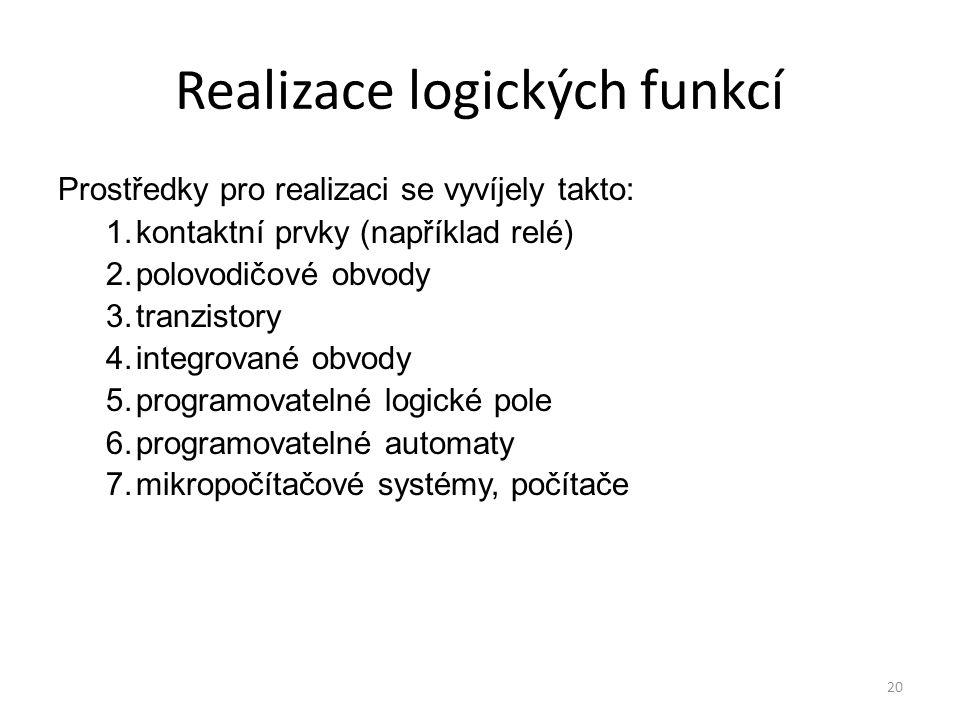 20 Realizace logických funkcí Prostředky pro realizaci se vyvíjely takto: 1.kontaktní prvky (například relé) 2.polovodičové obvody 3.tranzistory 4.int
