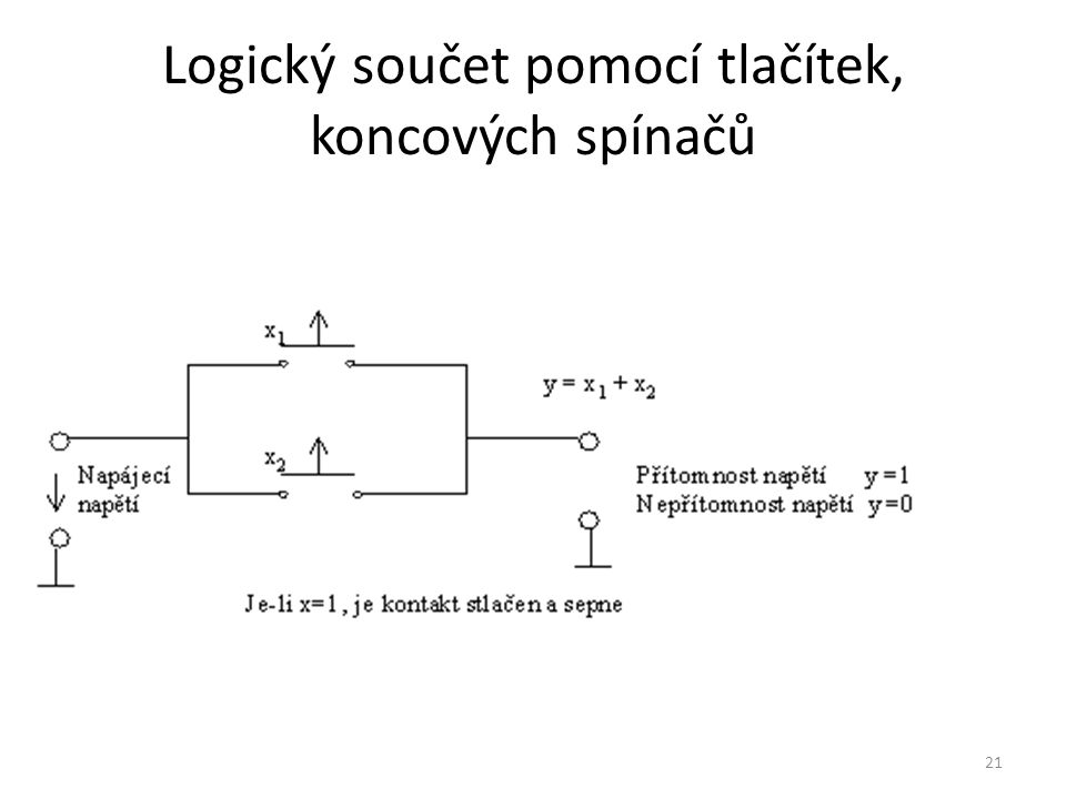 21 Logický součet pomocí tlačítek, koncových spínačů
