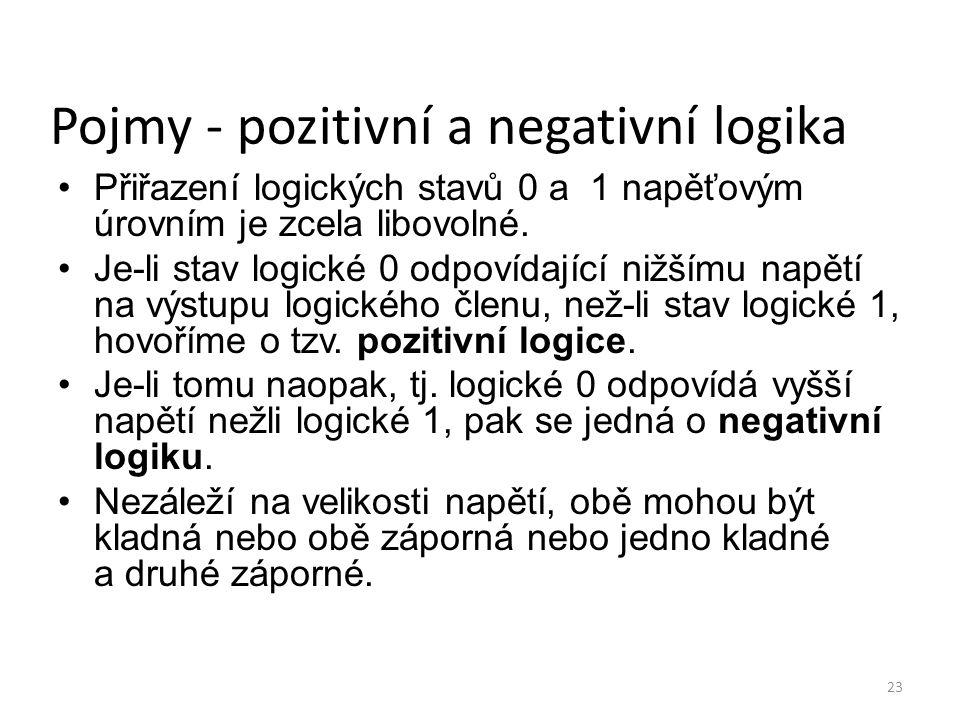 23 Pojmy - pozitivní a negativní logika Přiřazení logických stavů 0 a 1 napěťovým úrovním je zcela libovolné. Je-li stav logické 0 odpovídající nižším
