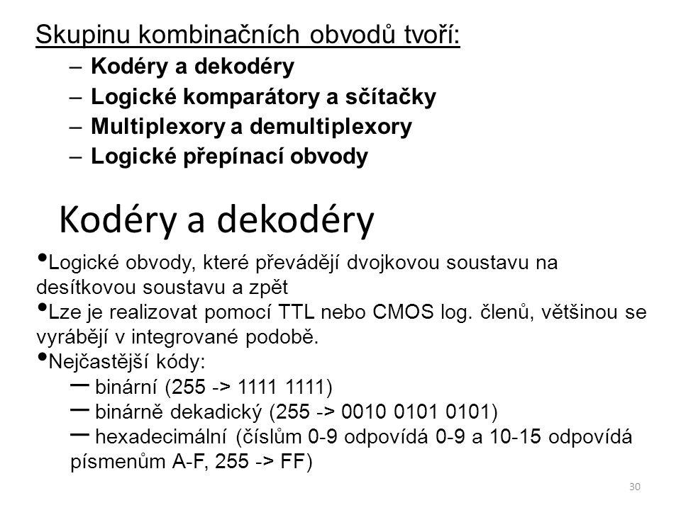30 Kodéry a dekodéry Skupinu kombinačních obvodů tvoří: –Kodéry a dekodéry –Logické komparátory a sčítačky –Multiplexory a demultiplexory –Logické pře
