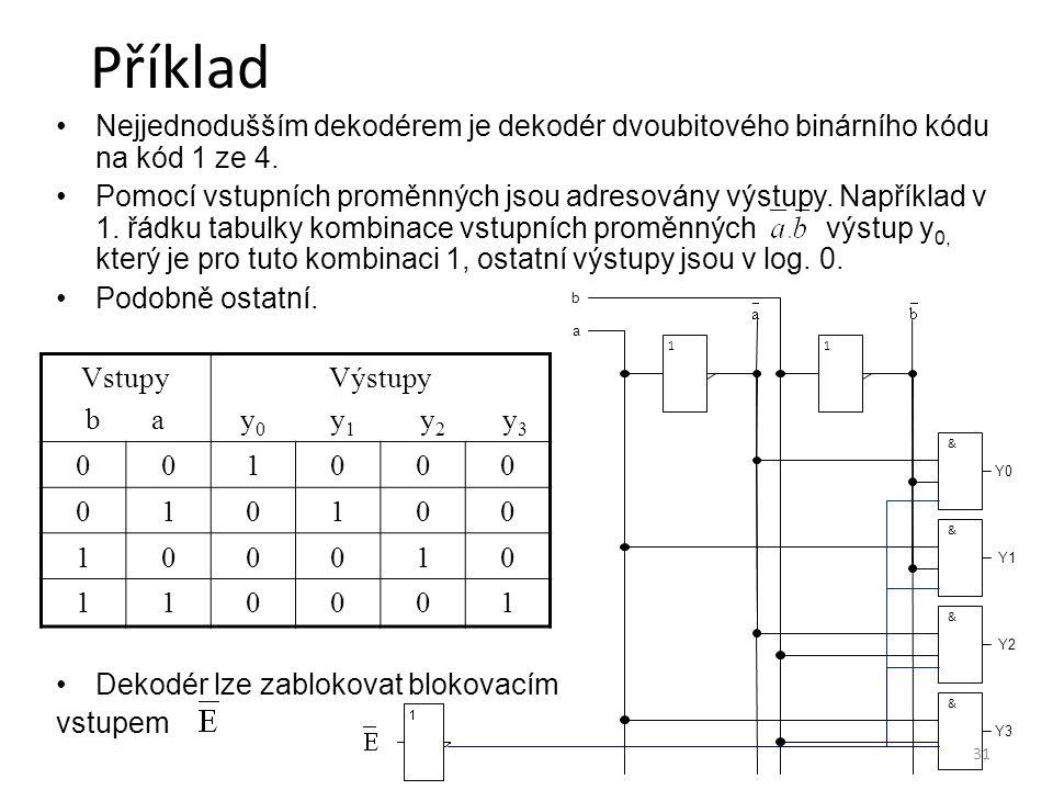 31 Příklad Nejjednodušším dekodérem je dekodér dvoubitového binárního kódu na kód 1 ze 4. Pomocí vstupních proměnných jsou adresovány výstupy. Napříkl
