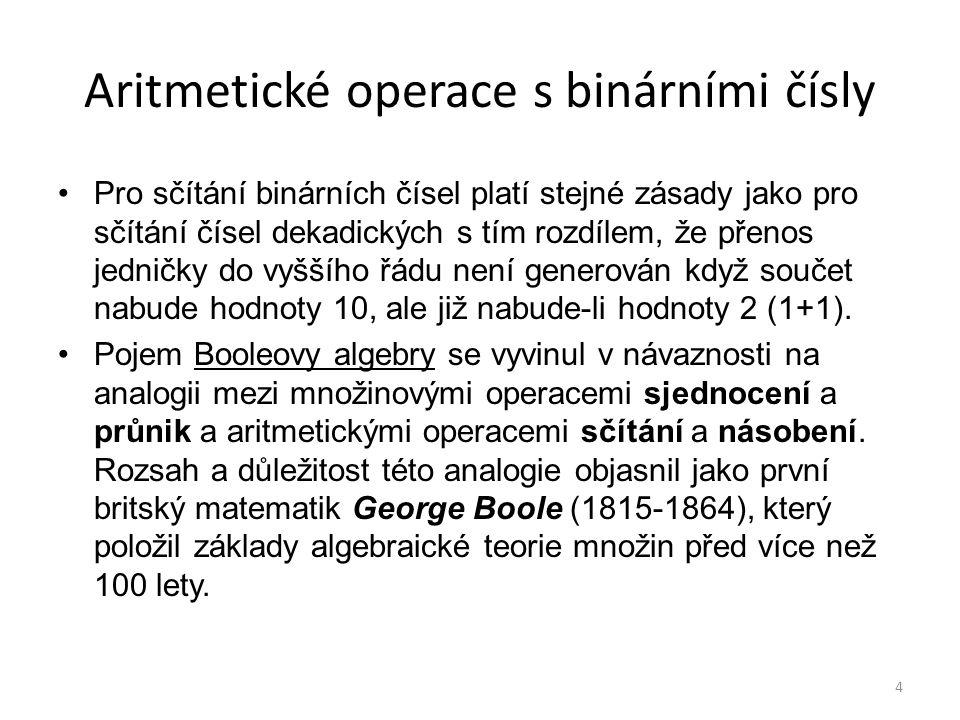 4 Aritmetické operace s binárními čísly Pro sčítání binárních čísel platí stejné zásady jako pro sčítání čísel dekadických s tím rozdílem, že přenos j