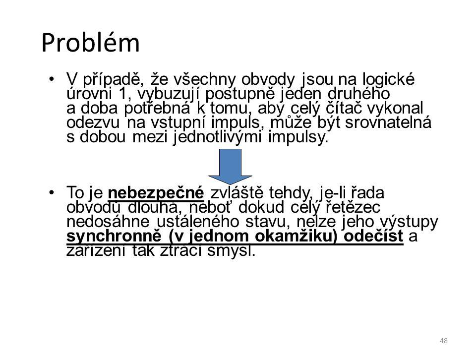 48 Problém V případě, že všechny obvody jsou na logické úrovni 1, vybuzují postupně jeden druhého a doba potřebná k tomu, aby celý čítač vykonal odezv