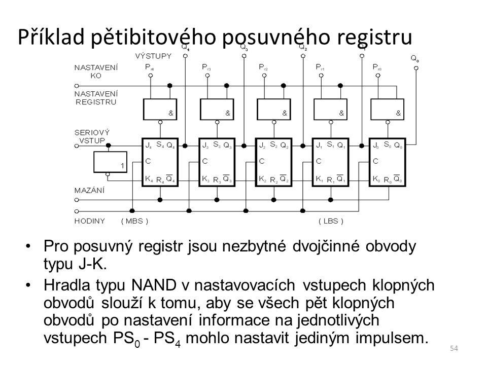 54 Příklad pětibitového posuvného registru Pro posuvný registr jsou nezbytné dvojčinné obvody typu J-K. Hradla typu NAND v nastavovacích vstupech klop