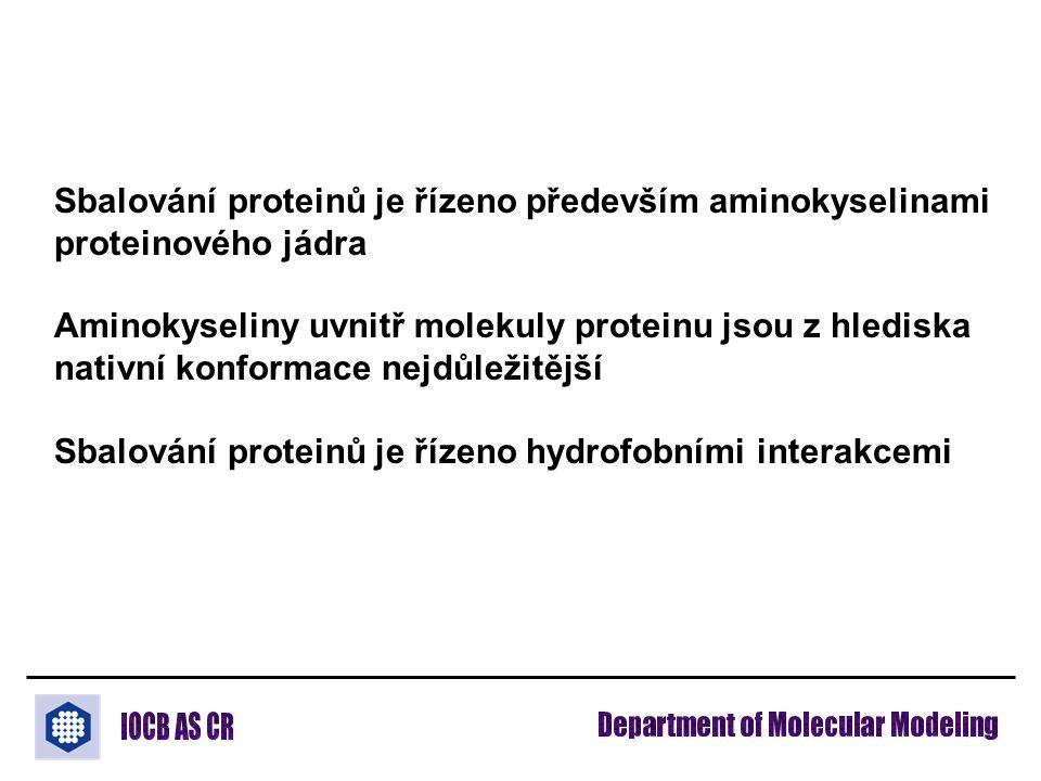 Sbalování proteinů je řízeno především aminokyselinami proteinového jádra Aminokyseliny uvnitř molekuly proteinu jsou z hlediska nativní konformace nejdůležitější Sbalování proteinů je řízeno hydrofobními interakcemi