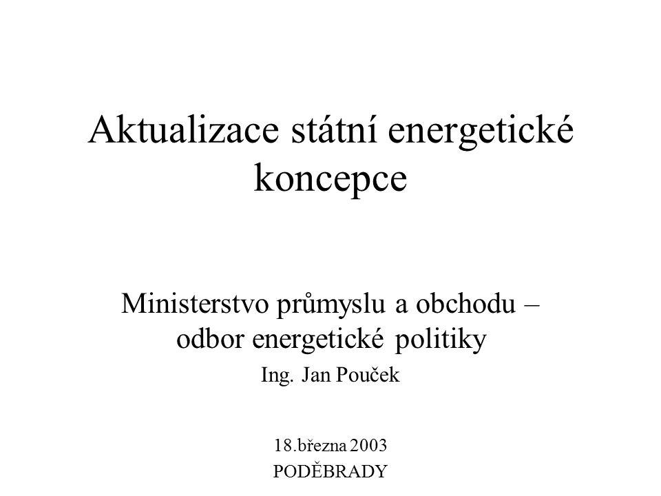 Aktualizace státní energetické koncepce Ministerstvo průmyslu a obchodu – odbor energetické politiky Ing. Jan Pouček 18.března 2003 PODĚBRADY
