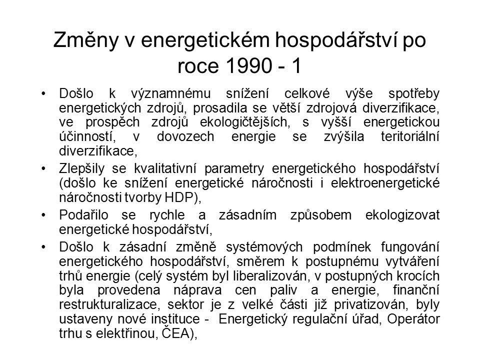 Změny v energetickém hospodářství po roce 1990 - 1 Došlo k významnému snížení celkové výše spotřeby energetických zdrojů, prosadila se větší zdrojová diverzifikace, ve prospěch zdrojů ekologičtějších, s vyšší energetickou účinností, v dovozech energie se zvýšila teritoriální diverzifikace, Zlepšily se kvalitativní parametry energetického hospodářství (došlo ke snížení energetické náročnosti i elektroenergetické náročnosti tvorby HDP), Podařilo se rychle a zásadním způsobem ekologizovat energetické hospodářství, Došlo k zásadní změně systémových podmínek fungování energetického hospodářství, směrem k postupnému vytváření trhů energie (celý systém byl liberalizován, v postupných krocích byla provedena náprava cen paliv a energie, finanční restrukturalizace, sektor je z velké části již privatizován, byly ustaveny nové instituce - Energetický regulační úřad, Operátor trhu s elektřinou, ČEA),