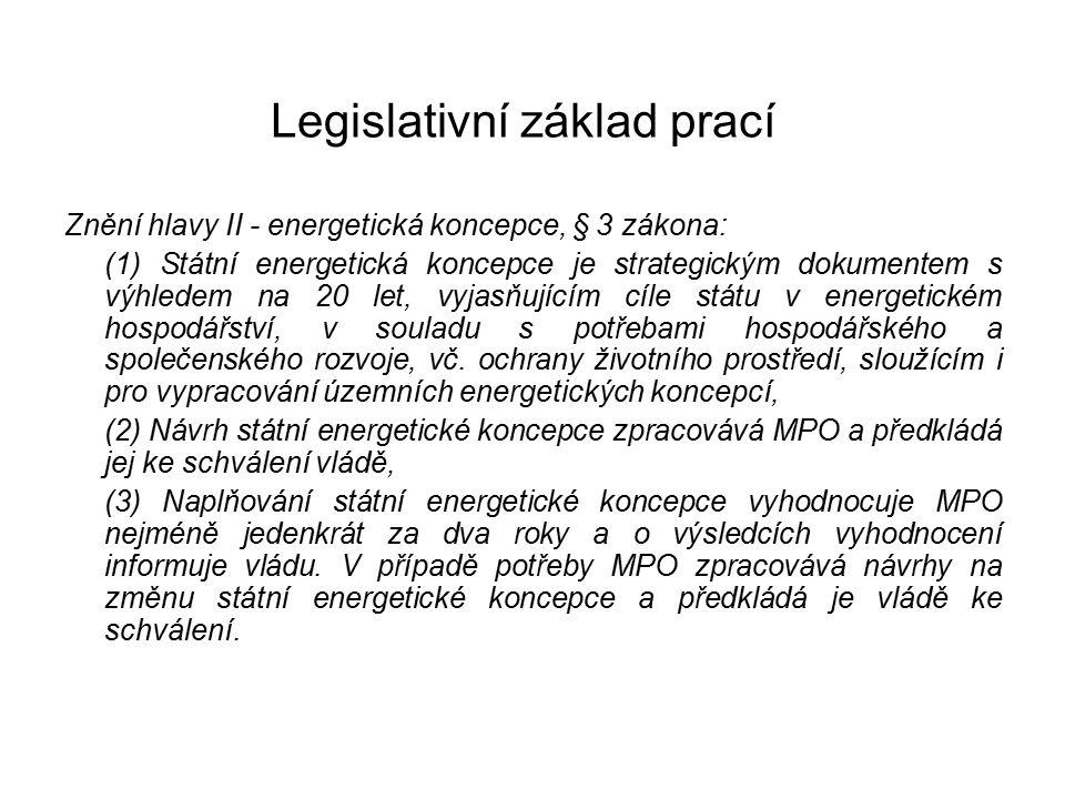 Legislativní základ prací Znění hlavy II - energetická koncepce, § 3 zákona: (1) Státní energetická koncepce je strategickým dokumentem s výhledem na 20 let, vyjasňujícím cíle státu v energetickém hospodářství, v souladu s potřebami hospodářského a společenského rozvoje, vč.