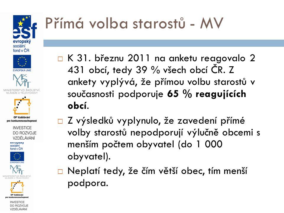M Přímá volba starostů - MV  K 31.