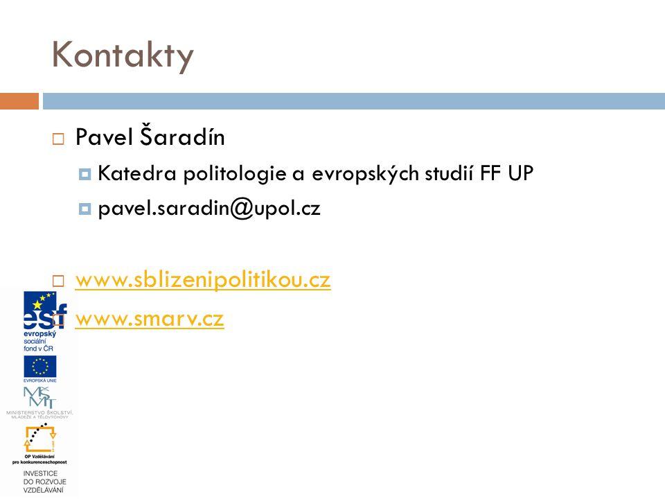  Pavel Šaradín  Katedra politologie a evropských studií FF UP  pavel.saradin@upol.cz  www.sblizenipolitikou.cz www.sblizenipolitikou.cz  www.smarv.cz www.smarv.cz Kontakty