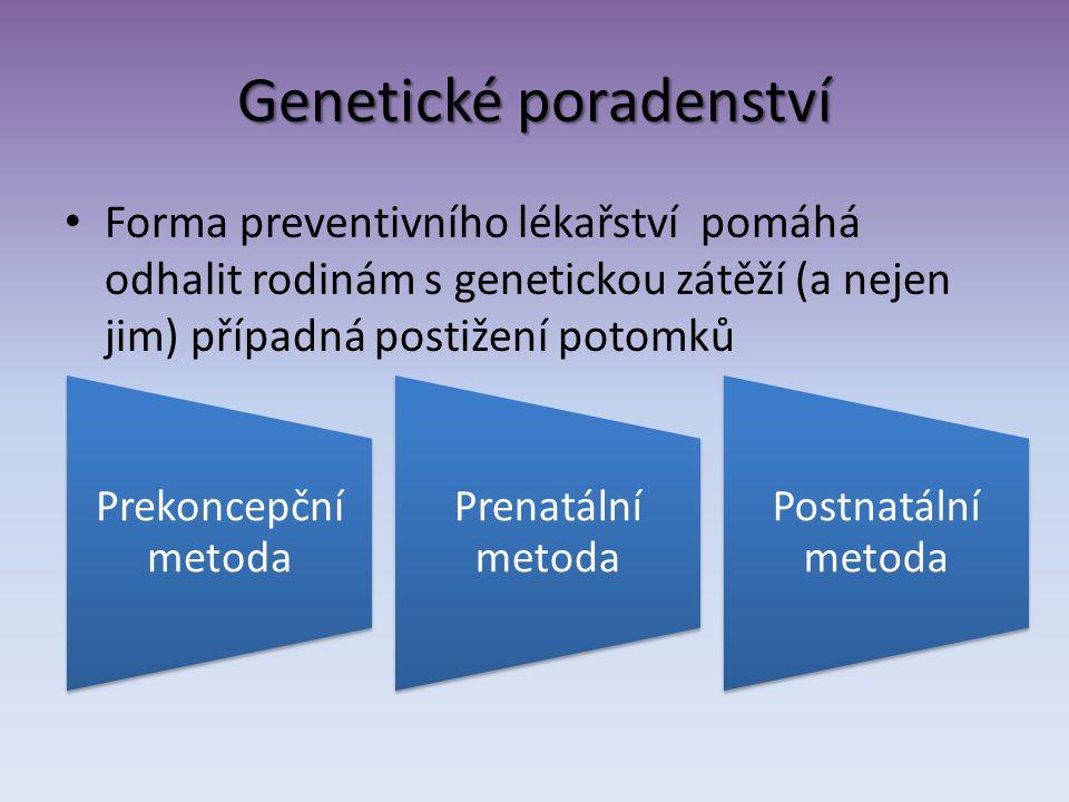 Genetické poradenství Forma preventivního lékařství pomáhá odhalit rodinám s genetickou zátěží (a nejen jim) případná postižení potomků Prekoncepční m