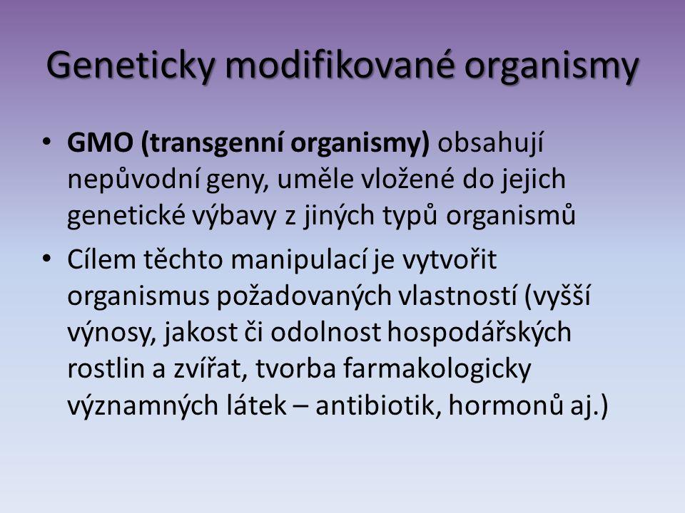 Geneticky modifikované organismy GMO (transgenní organismy) obsahují nepůvodní geny, uměle vložené do jejich genetické výbavy z jiných typů organismů