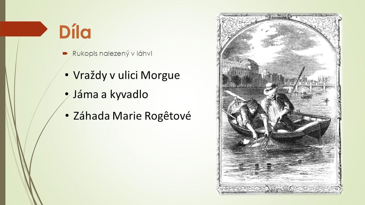 Díla  Rukopis nalezený v láhvi Vraždy v ulici Morgue Jáma a kyvadlo Záhada Marie Rogêtové