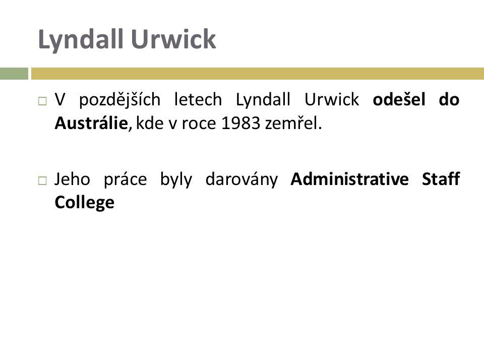 Lyndall Urwick  V pozdějších letech Lyndall Urwick odešel do Austrálie, kde v roce 1983 zemřel.