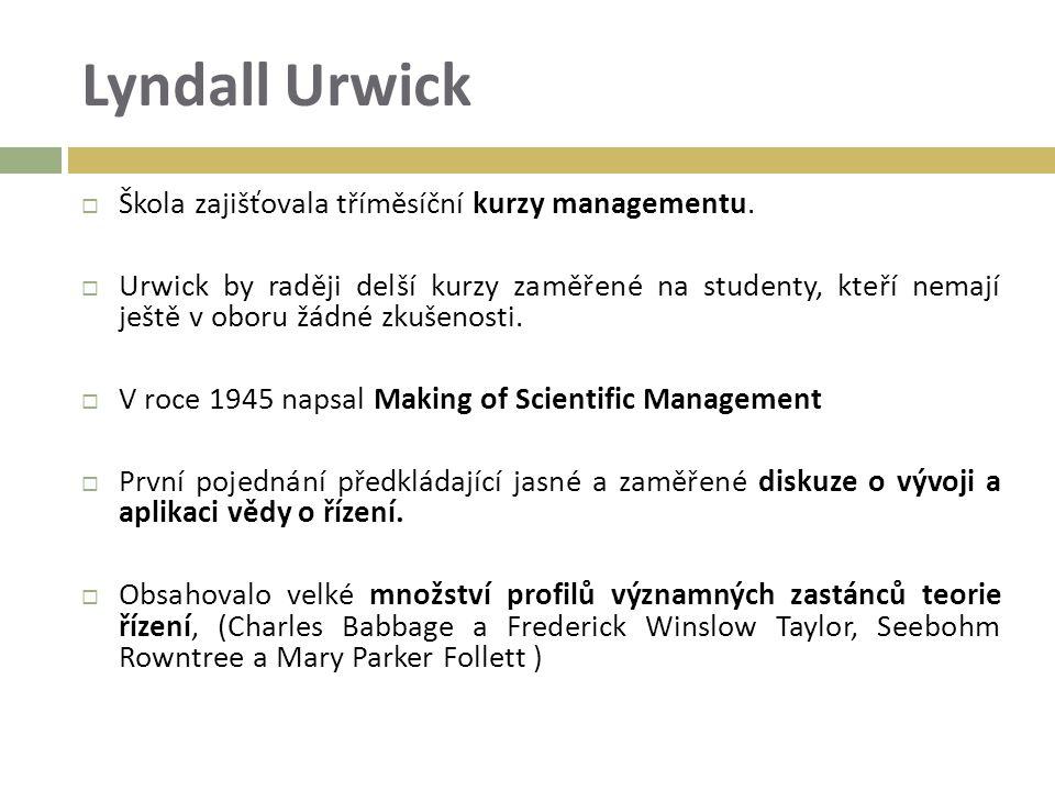 Lyndall Urwick  Škola zajišťovala tříměsíční kurzy managementu.