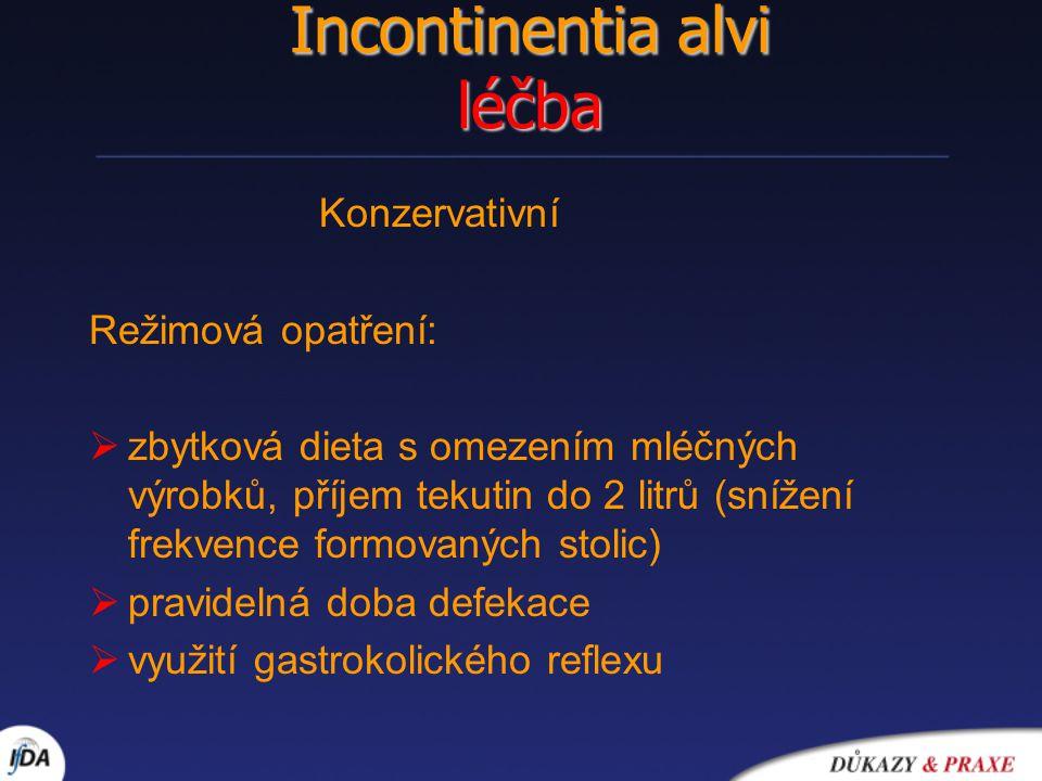 Incontinentia alvi léčba Konzervativní Režimová opatření:  zbytková dieta s omezením mléčných výrobků, příjem tekutin do 2 litrů (snížení frekvence f