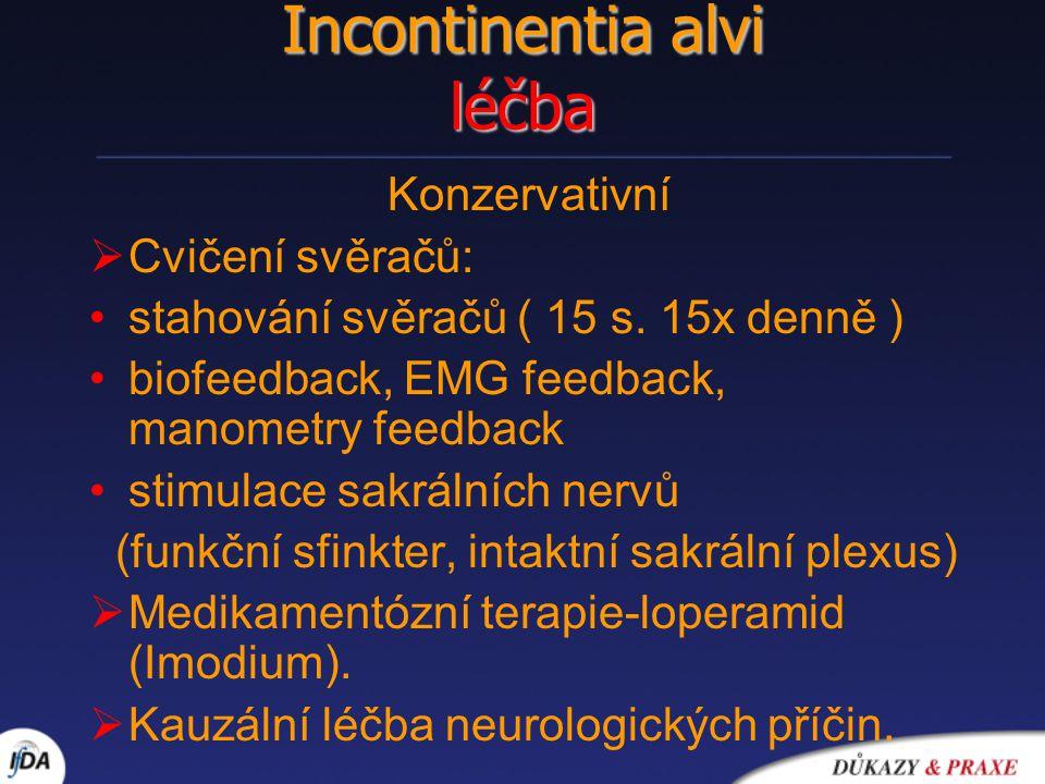Incontinentia alvi léčba Konzervativní  Cvičení svěračů: stahování svěračů ( 15 s. 15x denně ) biofeedback, EMG feedback, manometry feedback stimulac