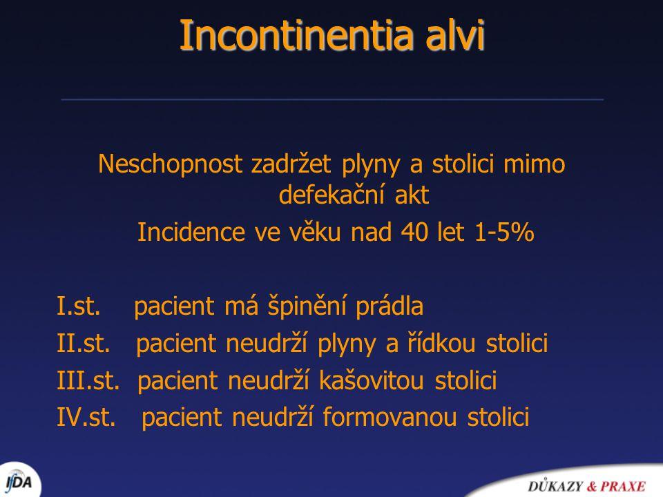 Incontinentia alvi Neschopnost zadržet plyny a stolici mimo defekační akt Incidence ve věku nad 40 let 1-5% I.st. pacient má špinění prádla II.st. pac
