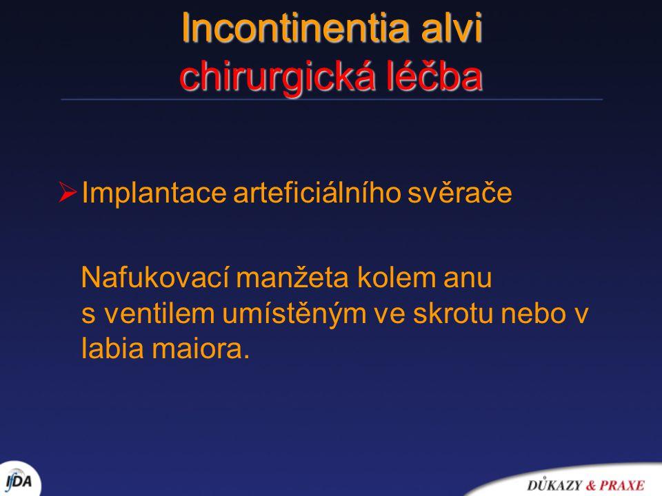 Incontinentia alvi chirurgická léčba  Implantace arteficiálního svěrače Nafukovací manžeta kolem anu s ventilem umístěným ve skrotu nebo v labia maio