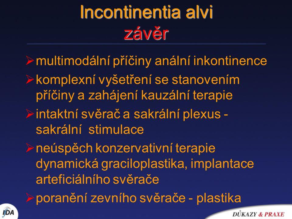 Incontinentia alvi závěr  multimodální příčiny anální inkontinence  komplexní vyšetření se stanovením příčiny a zahájení kauzální terapie  intaktní