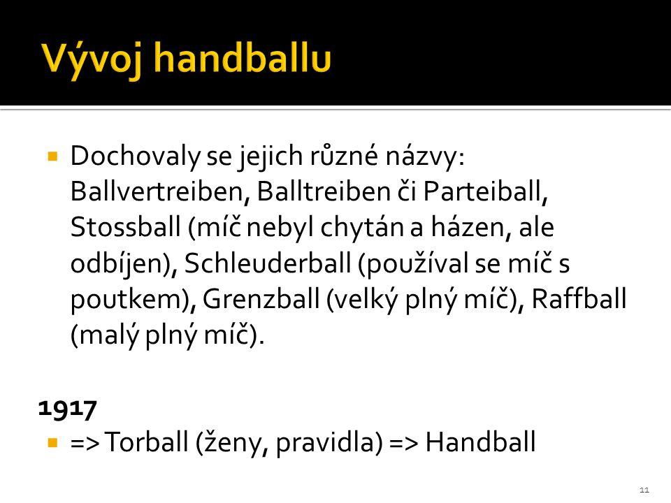  Dochovaly se jejich různé názvy: Ballvertreiben, Balltreiben či Parteiball, Stossball (míč nebyl chytán a házen, ale odbíjen), Schleuderball (používal se míč s poutkem), Grenzball (velký plný míč), Raffball (malý plný míč).