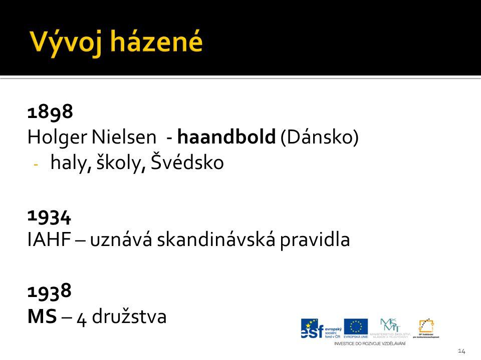 1898 Holger Nielsen - haandbold (Dánsko) - haly, školy, Švédsko 1934 IAHF – uznává skandinávská pravidla 1938 MS – 4 družstva 14