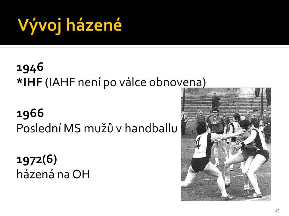 1946 *IHF (IAHF není po válce obnovena) 1966 Poslední MS mužů v handballu 1972(6) házená na OH 15