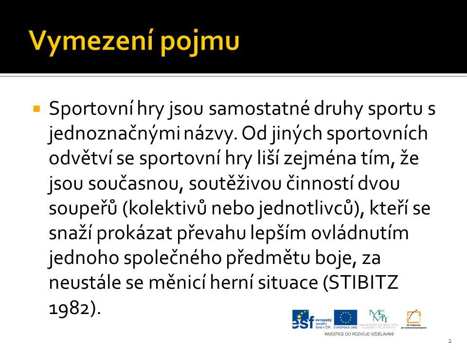  Sportovní hry jsou samostatné druhy sportu s jednoznačnými názvy. Od jiných sportovních odvětví se sportovní hry liší zejména tím, že jsou současnou