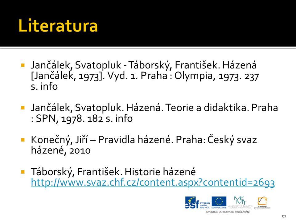  Jančálek, Svatopluk - Táborský, František. Házená [Jančálek, 1973]. Vyd. 1. Praha : Olympia, 1973. 237 s. info  Jančálek, Svatopluk. Házená. Teorie