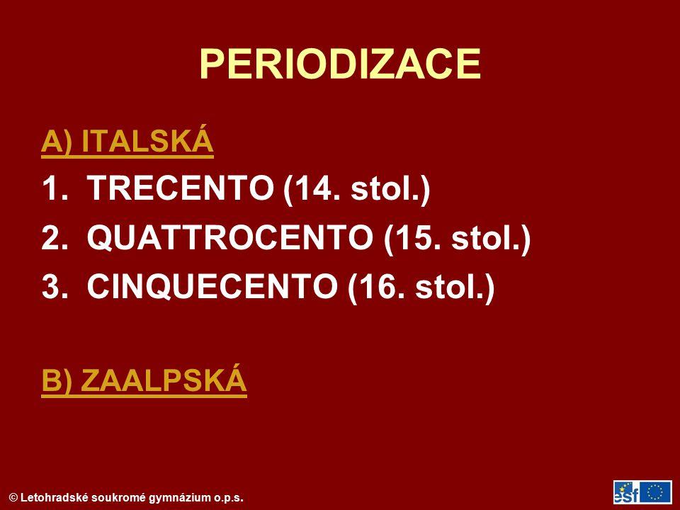 © Letohradské soukromé gymnázium o.p.s. PERIODIZACE A) ITALSKÁ 1.TRECENTO (14. stol.) 2.QUATTROCENTO (15. stol.) 3.CINQUECENTO (16. stol.) B) ZAALPSKÁ