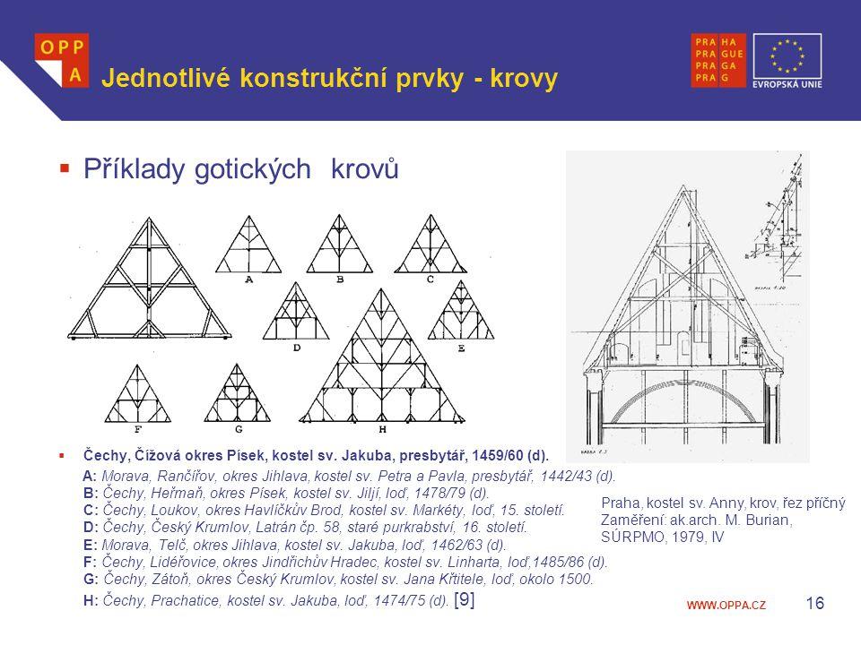 WWW.OPPA.CZ Jednotlivé konstrukční prvky - krovy  Příklady gotických krovů  Čechy, Čížová okres Písek, kostel sv. Jakuba, presbytář, 1459/60 (d). A:
