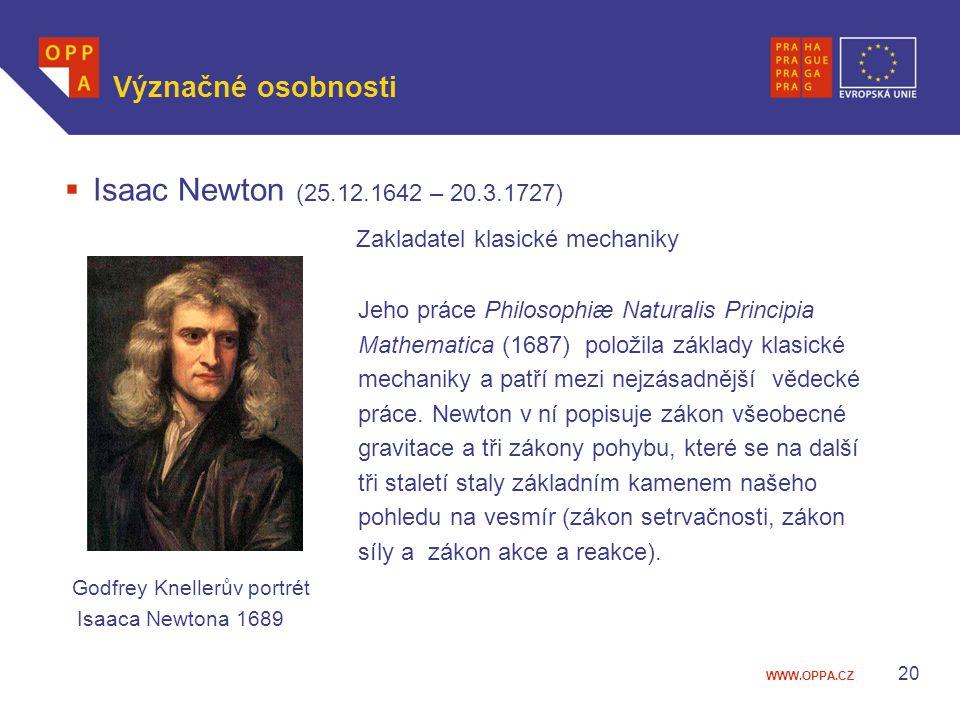 WWW.OPPA.CZ Význačné osobnosti  Isaac Newton (25.12.1642 – 20.3.1727) Zakladatel klasické mechaniky Jeho práce Philosophiæ Naturalis Principia Mathem
