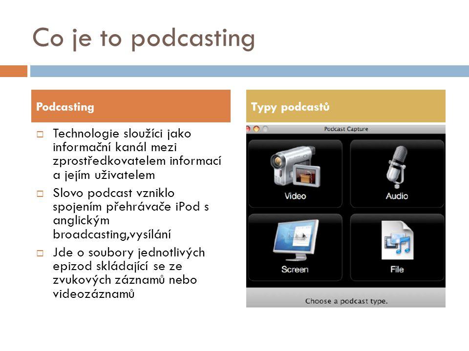 Co je to podcasting  Technologie sloužíci jako informační kanál mezi zprostředkovatelem informací a jejím uživatelem  Slovo podcast vzniklo spojením přehrávače iPod s anglickým broadcasting,vysílání  Jde o soubory jednotlivých epizod skládající se ze zvukových záznamů nebo videozáznamů PodcastingTypy podcastů