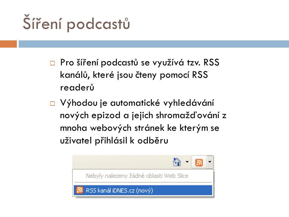 Šíření podcastů  Pro šíření podcastů se využívá tzv.