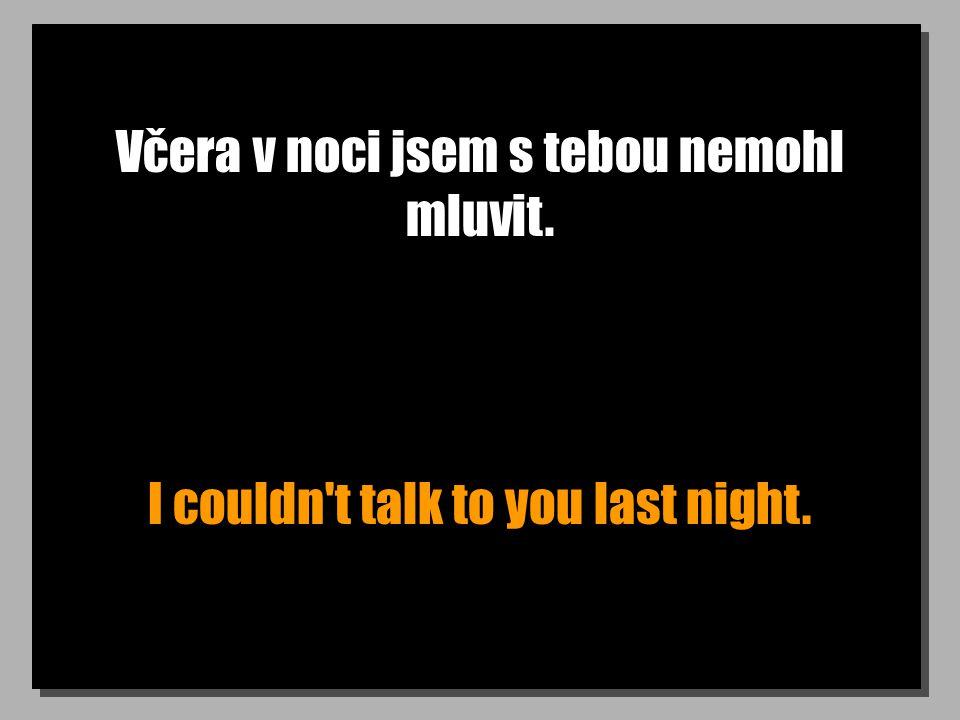 Včera v noci jsem s tebou nemohl mluvit. I couldn't talk to you last night.