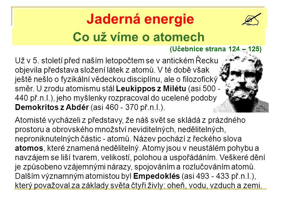 Co už víme o atomech Jaderná energie (Učebnice strana 124 – 125) Už v 5. století před naším letopočtem se v antickém Řecku objevila představa složení