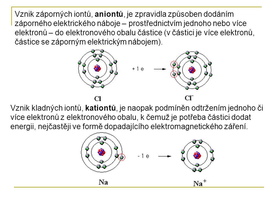 Vznik záporných iontů, aniontů, je zpravidla způsoben dodáním záporného elektrického náboje – prostřednictvím jednoho nebo více elektronů – do elektro