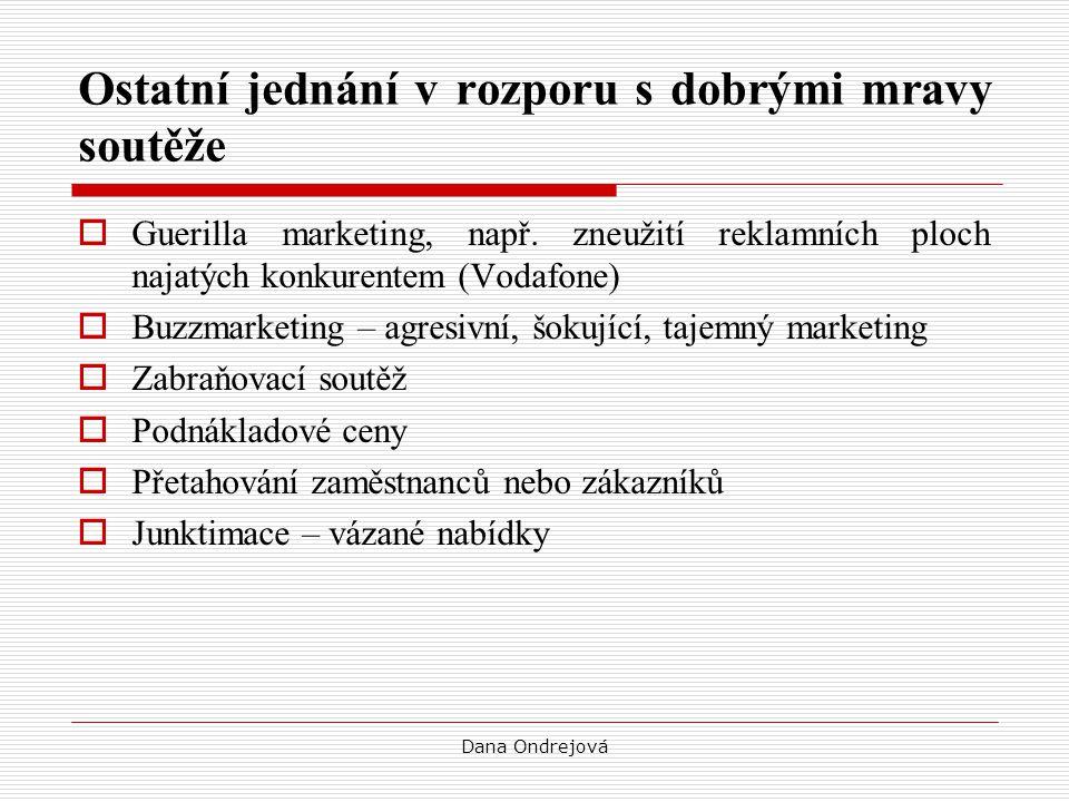 Dana Ondrejová Ostatní jednání v rozporu s dobrými mravy soutěže  Guerilla marketing, např. zneužití reklamních ploch najatých konkurentem (Vodafone)