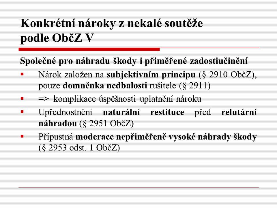 Konkrétní nároky z nekalé soutěže podle ObčZ V Společné pro náhradu škody i přiměřené zadostiučinění  Nárok založen na subjektivním principu (§ 2910