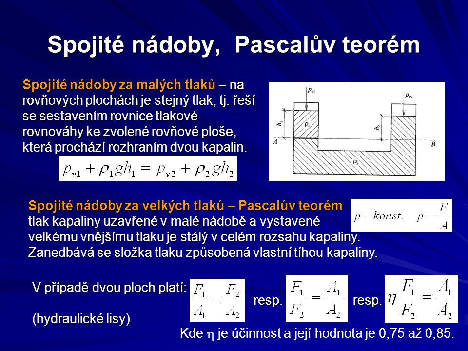 Spojité nádoby, Pascalův teorém Spojité nádoby za malých tlaků – na rovňových plochách je stejný tlak, tj.